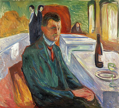 Self Portrait Painting - Self-portrait With A Bottle Of Wine by Edvard Munch