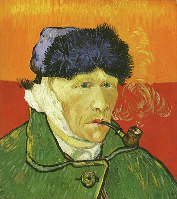 Pipe Painting - Self-portrait With Bandaged Ear And Pipe by Vincent van Gogh