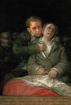 Self Shot Painting - Self-portrait With Dr. Arrieta by Francisco Goya