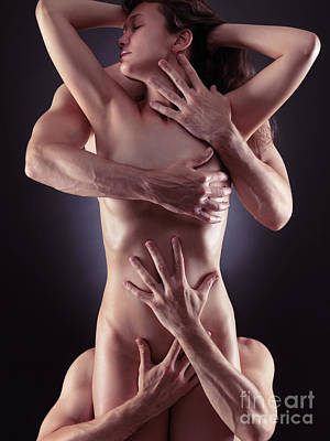 Photograph - Sensual Photo Of Male Hands Embracing A Woman by Oleksiy Maksymenko