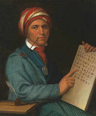 Painting - Sequoyah by Henry Inman