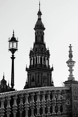Black And White Photograph - Seville - Plaza De Espana by Andrea Mazzocchetti