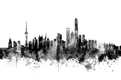 Chinese Digital Art - Shanghai China Skyline by Michael Tompsett