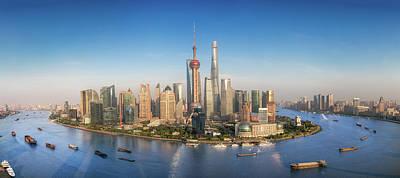 Shanghai Skyline With Modern Urban Skyscrapers Art Print by Anek Suwannaphoom