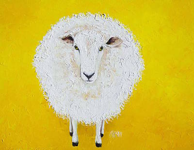 Sheep Painting On Yellow Background Art Print