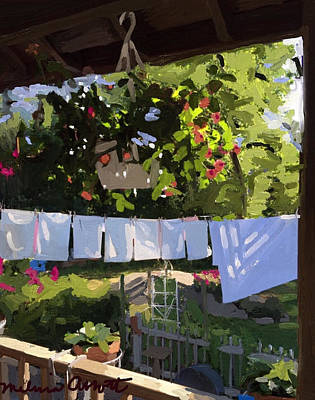 Rockport Painting - Sheets And Pillow Cases On The Line With Lantana Flowers by Melissa Abbott