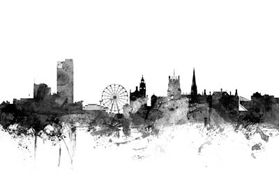 England Digital Art - Sheffield England Skyline by Michael Tompsett