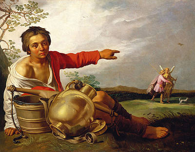 Shepherd Boy Pointing At Tobias And The Angel Print by Abraham Bloemaert