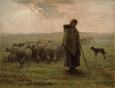 Sheep Painting - Shepherdess And Her Flock by Jean-Francois Millet
