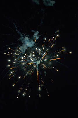 Photograph - Shining Colorful Firework Over A Dark Night Sky by Regina Koch