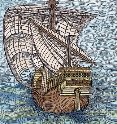 Woodcut Drawing - Ship From The Time Of Christopher Columbus by English School
