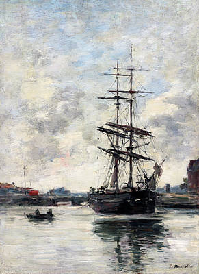 Painting - Ship On The Touques by Eugene Boudin