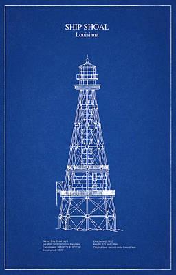 Beach Digital Art - Ship Shoal Lighthouse - Louisiana - Blueprint Drawing by Jose Elias - Sofia Pereira