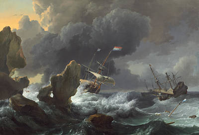 Painting - Ships In Distress Off A Rocky Coast by Ludolf Bakhuizen