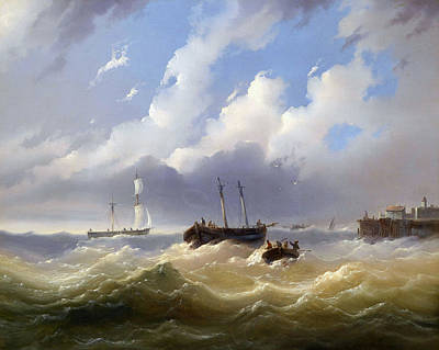 Stormy Weather Painting - Ships On A Stormy Sea by MotionAge Designs
