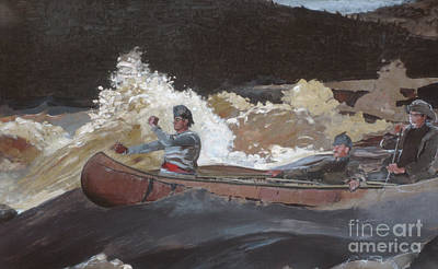 River Rafting Painting - Shooting The Rapids, Saguenay River by Winslow Homer