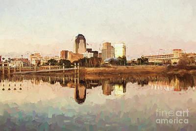 Photograph - Shreveport Cityscape - Digital Painting by Scott Pellegrin