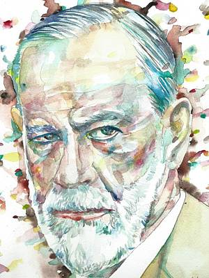Painting - Sigmund Freud - Watercolor Portrait.11 by Fabrizio Cassetta