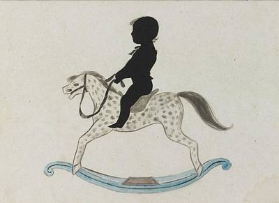 Featured Tapestry Designs - Silhouette Of A Boy On A Rocking Horse by MotionAge Designs