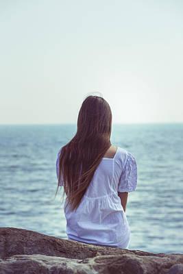 Waiting Girl Wall Art - Photograph - Sitting At The Sea by Joana Kruse