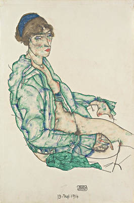 Expressionist Painting - Sitting Semi-nude With Blue Hairband by Egon Schiele