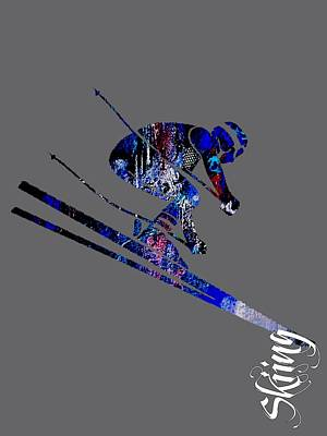 Downhill Mixed Media - Skiing Collection by Marvin Blaine
