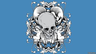 Graphic Digital Art - Skull by Maye Loeser
