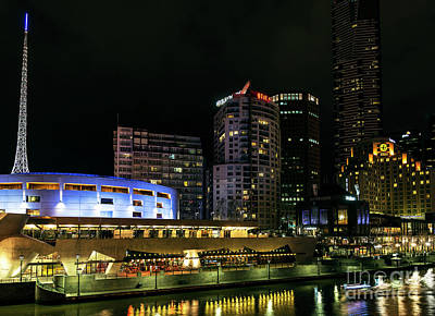 Photograph - skyline by river yarra at night central melbourne CBD australia by Jacek Malipan