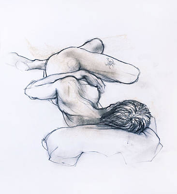 Drawing - Sleeping Female Nude by Roz McQuillan