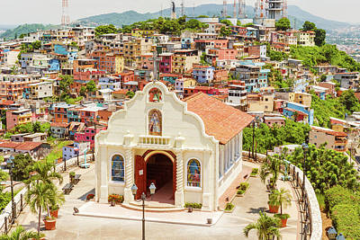 Photograph - Small Catholic Chapel In Cerro Santa Ana Guayaquil by Marek Poplawski