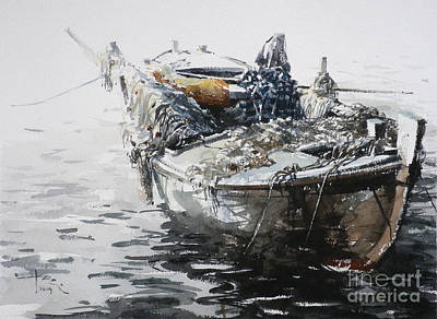 Wall Art - Painting - Small Fishing Boat 6 by Tony Belobrajdic