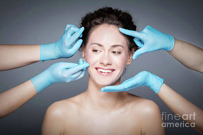Photograph - Smiling Woman Having Skin Checkup Before Plastic Surgery. by Michal Bednarek