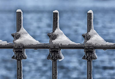 Railroad - Snow and Wrought Iron Fence by Robert Ullmann