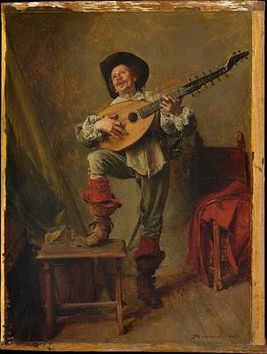 Soldier Playing The Theorbo Art Print by Ernest Meissonier