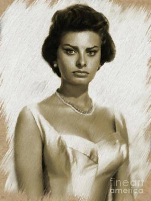 Painting - Sophia Loren, Vintage Actress by Mary Bassett