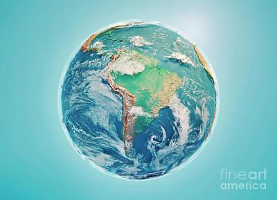 South America 3d Render Planet Earth Clouds Art Print by Frank Ramspott