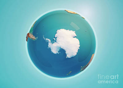 South Pole 3d Render Planet Earth Art Print