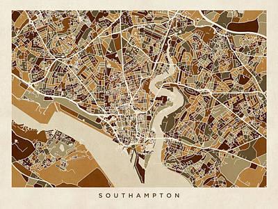 Digital Art - Southampton England City Map by Michael Tompsett