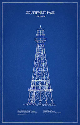 Drawing Digital Art - Southwest Pass Lighthouse - Louisiana - Blueprint Drawing by Jose Elias - Sofia Pereira