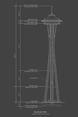 Seattle Drawing - Space Needle - Elevation - Seattle, Wa - Circa 1961  by Wall Artifact