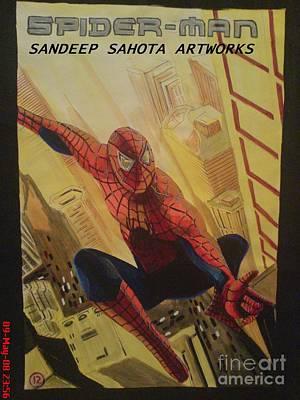 Intezaar Painting - Spiderman by Sandeep Kumar Sahota