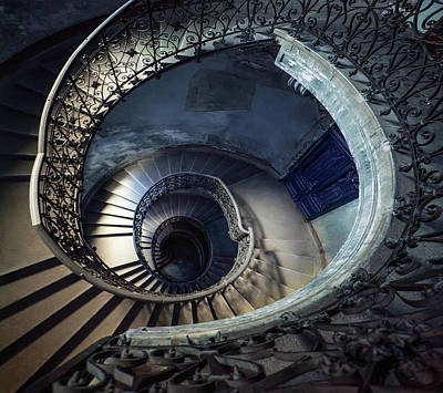 Photograph - Spiral Staircase With Ornamented Handrail by Jaroslaw Blaminsky