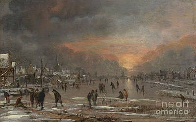 Winter Fun Painting - Sports On A Frozen River by Aert van der Neer