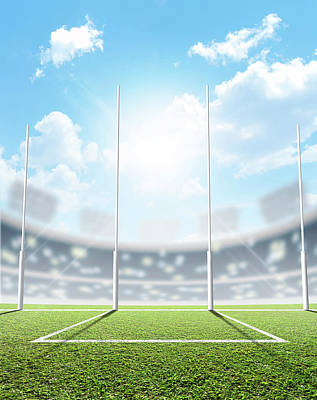 Footie Digital Art - Sports Stadium And Goal Posts by Allan Swart