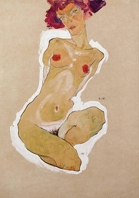 Nude Painting - Squatting Female Nude by Egon Schiele