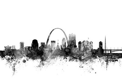Watercolour Digital Art - St Louis Missouri Skyline by Michael Tompsett