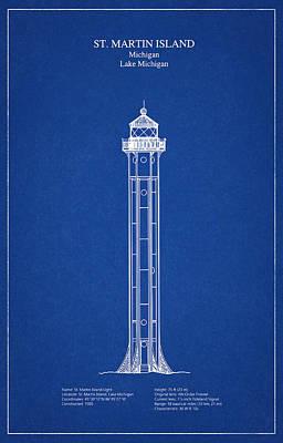Lake Michigan Digital Art - St. Martin Island Lighthouse - Michigan - Blueprint Drawing by Jose Elias - Sofia Pereira