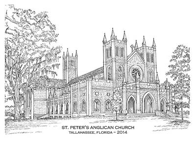 Drawing - St. Peter's Anglican Church by Audrey Peaty