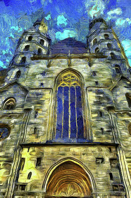 Impressionism Photos - St Stephens Cathedral Vienna Van Gogh by David Pyatt