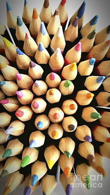 Stack Of Colored Pencils Art Print
